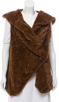 Adrienne Landau Draped Faux Fur Vest