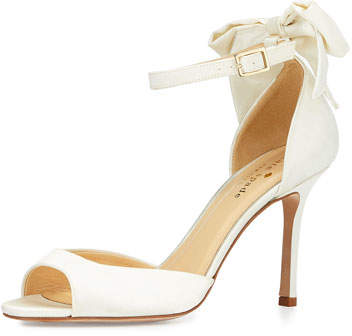 Kate Spade New York Izzie Bow-Back Satin D'orsay Pump, Ivory