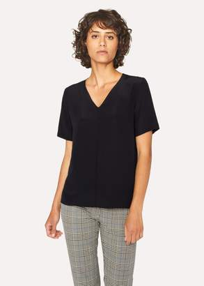 Paul Smith Women's Black Silk V-Neck Top With Pink Internal Trim