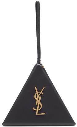 Saint Laurent Logo Plaque Pyramid Leather Wristlet Clutch - Womens - Black