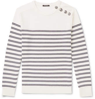 Balmain Buttoned Striped Wool Sweater