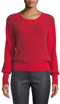 Escada Crewneck Sequin Ribbed Wool-Cashmere Pullover Sweater