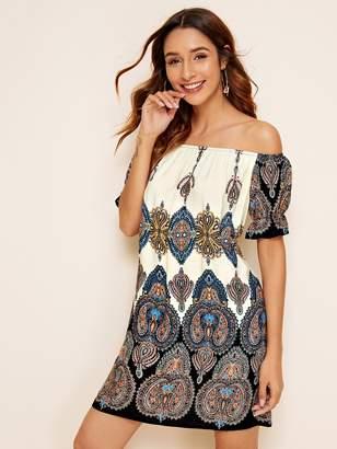 Shein Aztec Print Puff Sleeve Bardot Dress