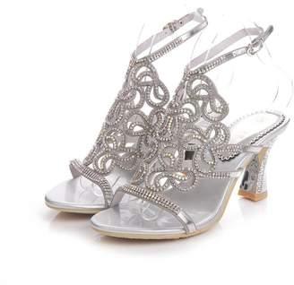 Unicrystal Women's Leaf Pattern Spool Heel Rhinestone Evening Bridal Wedding Prom Sandals Size Sliver