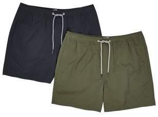 Mens Black And Khaki Twin Pack Swim Shorts