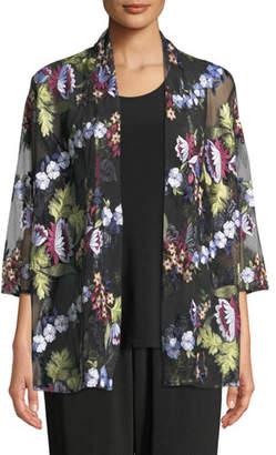 Caroline Rose Leading Lady Bracelet-Sleeve Floral-Embroidered Mesh Cardigan, Plus Size
