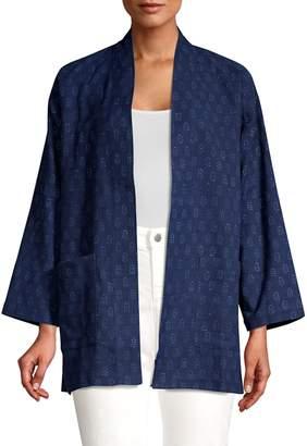 Eileen Fisher Printed Chambray Kimono Jacket