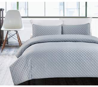 Hotel Collection California Design Den Luxury 3-Piece Bedding Coverlet Set, Hotel Diamond King Size Lightweight Quilted Bedspreads, Silver