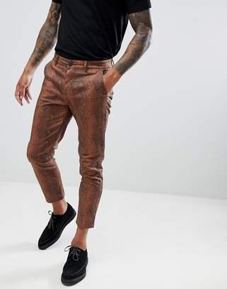 Asos Design DESIGN slim cropped pants in snake print