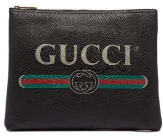 Gucci Logo Print Medium Leather Pouch - Mens - Black