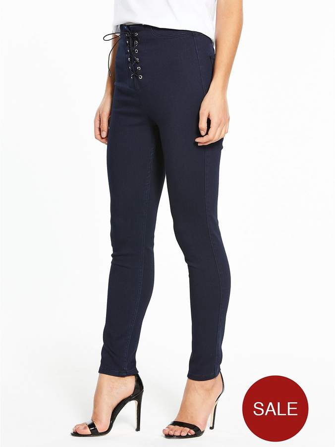 V By Very Petite Lace Up Front Jeggings