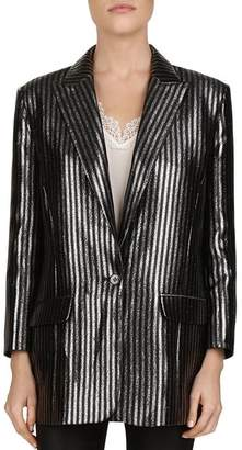 The Kooples Metallic Striped Single-Button Blazer