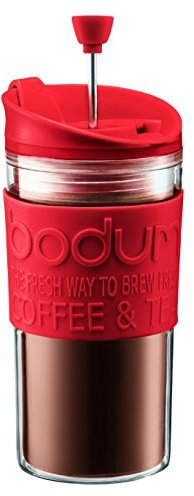 Bodum Travel Press Set Coffee Maker with Extra Lid, 0.35 L/12 oz - Red