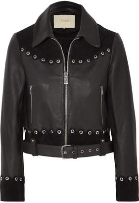 Maje Embellished Suede-trimmed Leather Jacket - Black
