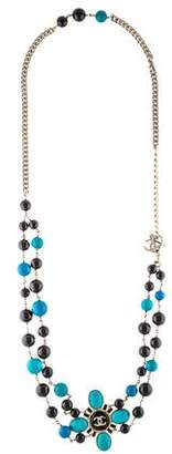 Chanel Bead Double Strand Station Necklace