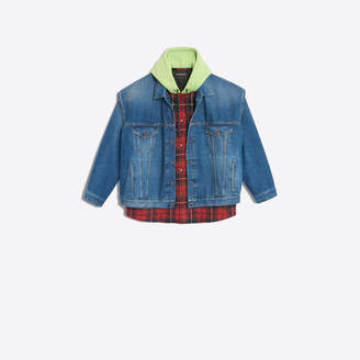 Balenciaga Denim and fleece wool twinset jacket