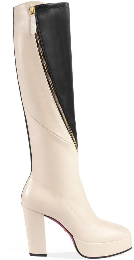 Leather platform knee boot