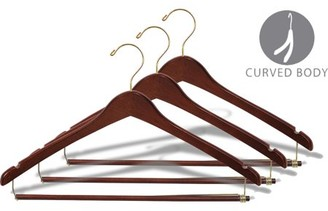 Curved Wood Suit Hanger with Locking Bar, Box of 100 17 Inch Wooden Hangers with Walnut Finish & Brass Swivel Hook & Notches for Hanging Straps by International Hanger