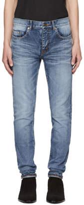 Saint Laurent Blue Universite Low-Waisted Skinny Jeans