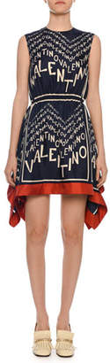 Valentino Sleeveless Logo Puzzle-Print Silk Twill Dress w/ Scarf Hem