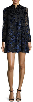 Alice + Olivia Fatima Floral Long-Sleeve Shift Dress, Multicolor $465 thestylecure.com