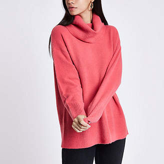 River Island Pink oversized roll neck sweater