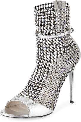Rene Caovilla Crystal Mesh & Snake Caged Bootie Sandals