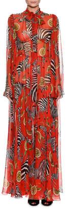 Dolce & Gabbana Tie-Neck Long-Sleeve Zebra-Print Unlined Jumpsuit