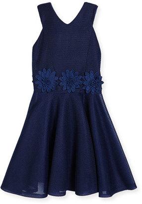 David Charles Sleeveless Floral Mesh Circle Dress, Blue, Size 8-16 $210 thestylecure.com