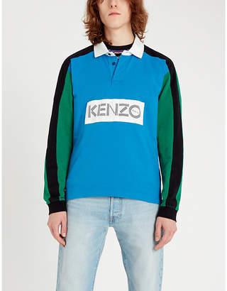 Kenzo Logo-print colour-blocked cotton-jersey polo shirt
