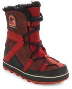 Glacy Explorer Faux Fur-Trimmed Suede & Canvas Boots $125 thestylecure.com