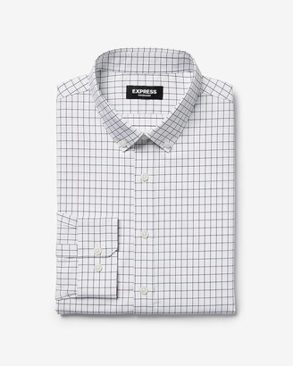 Express Extra Slim Plaid Button Collar Wrinkle-Resistant Performance Shirt