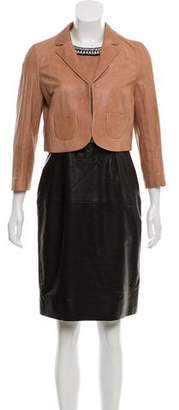 Paule Ka Leather Knee-Length Dress Set