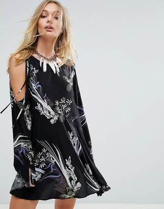 Free People Clear Skies Cold Shoulder Printed Dress