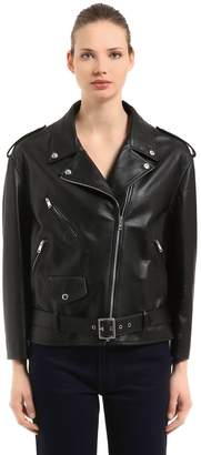 Prada Oversized Matte Leather Biker Jacket