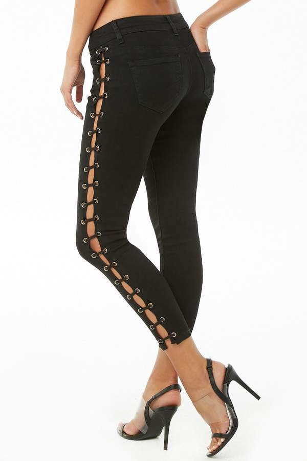 Forever 21 Side Lace-Up Skinny Jeans