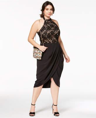 City Chic Trendy Plus Size Lady Portia Faux-Wrap Halter Dress