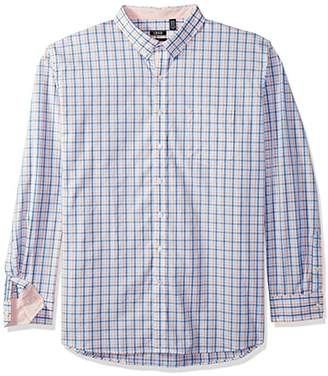 Izod Men's Size Premium Essential Check Long Sleeve Shirt (Big Tall Slim)