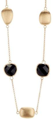 Rivka Friedman Faceted Black Onyx Pebble Satin Necklace