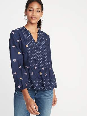 Old Navy Mixed-Print Boho Swing Blouse for Women