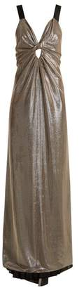 Azzaro Apolonia V Neck Lame Gown - Womens - Silver