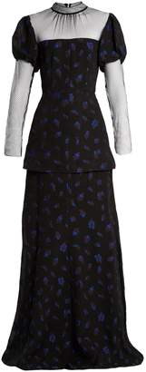 Clemmie tulle-panel cloqué gown