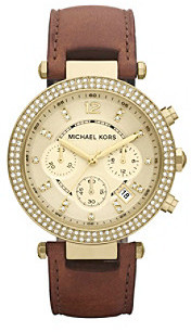 Michael Kors Goldtone and Brown Parker Watch