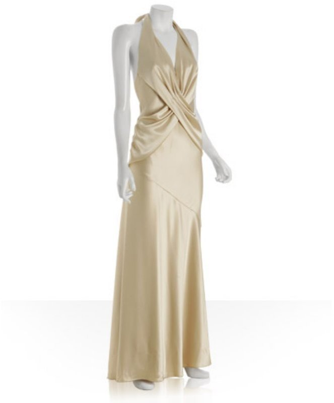 A.B.S. by Allen Schwartz light gold sateen v-neck halter dress