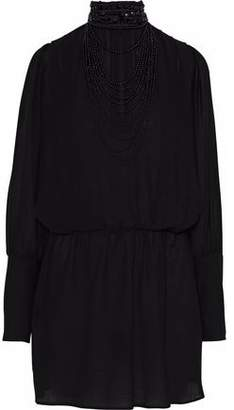Pierre Balmain Embellished Cotton-Blend Gauze Mini Dress