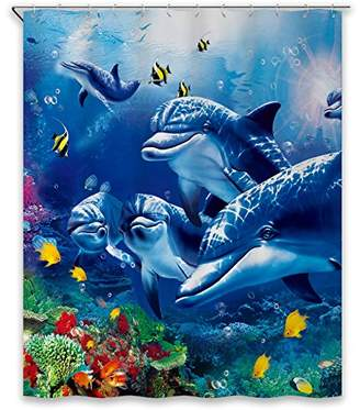 Chunyi Blue Sea World Coral Dolphin Printed Waterproof Shower Curtain Liners 72x72