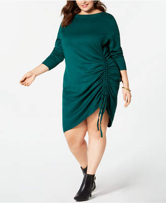 NY Collection Plus Size 3/4-Sleeve Ruched Sweater Dress