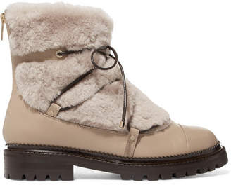 Jimmy Choo Darcie Shearling And Leather Ankle Boots - Beige