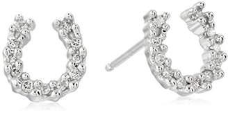 14k White Gold Diamond Horseshoe Earrings (.09 cttw