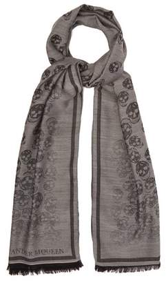 Alexander McQueen Skull Jacquard Wool And Silk Blend Scarf - Mens - Grey